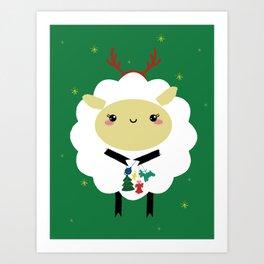 christmas sheep Art Print