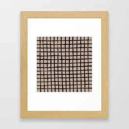 Strokes Grid - Black on Nude Framed Art Print