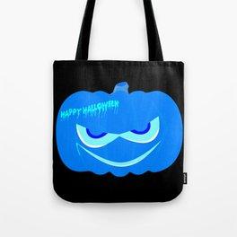 Evil Blue Halloween Pumpkin Tote Bag