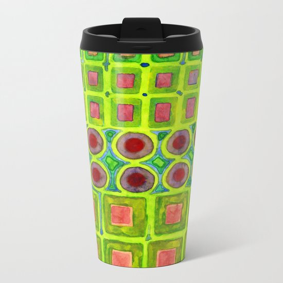 Connected filled Squares Fields Metal Travel Mug