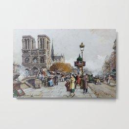 Notre-Dame vue du quai Saint-Michel, Paris by Eugène Galien Laloue Metal Print