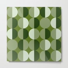 Retro circles grid green Metal Print