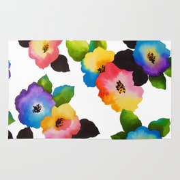 Watercolor Floral Multi Rug
