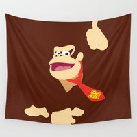 nintendo Wall Tapestries featuring Donkey Kong - Minimalist - Nintendo by Adrian Mentus