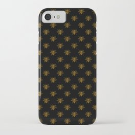 Foil Bees on Black Gold Metallic Faux Foil Photo-Effect Bees iPhone Case