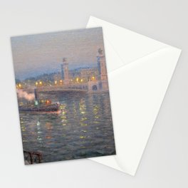 Paris, City of Lights Reflection on the River Seine; Alexander III Bridge landscape by Lionel Walden Stationery Cards