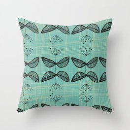 Seedlings + Blue Throw Pillow