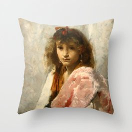Carmela Bertagna by John Singer Sargent - Vintage Fine Art Oil Painting Throw Pillow