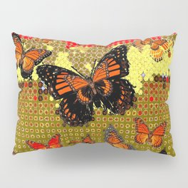 Abstracted Black & Orange Monarch Butterflies Red Pillow Sham