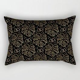 Gold Monstera on Black Rectangular Pillow