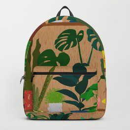 Plants on the Shelf in Warm Wood Backpack