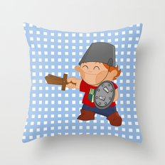 little knight, playing to grow Throw Pillow
