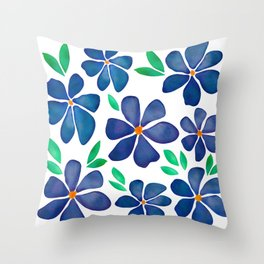Watercolor Blue Flowers Poppies Throw Pillow