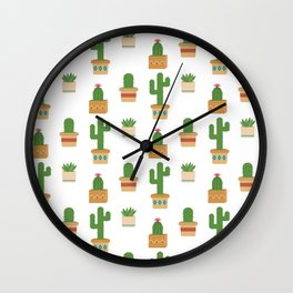 Southwestern Cactus Pattern Wall Clock