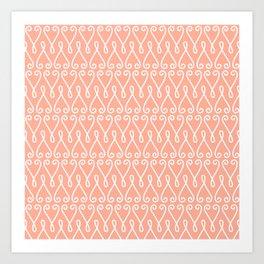 White Ornamental Designs on Pink Background Art Print