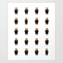Teddy Bear with a Black Jumpsuit Art Print