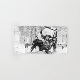 The Charging Bull, In the snow. Hand & Bath Towel