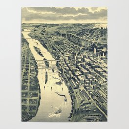 Vintage Map of St. Paul MN (1893) Poster