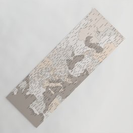 """Light brown map of Europe with cities """"Light earth tones"""" Yoga Mat"""