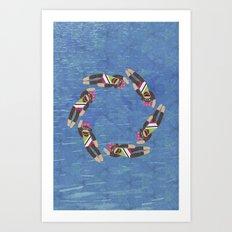 Sock Monkey Water Ballet Vertical Art Print