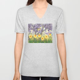 goldfinches, lilacs, & daffodils Unisex V-Neck