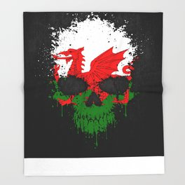 Flag of Wales on a Chaotic Splatter Skull Throw Blanket