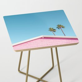 Pink House Roofline with Palm Trees (Palm Springs) Side Table