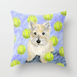 Miss Caroline the Cairn Terrier is Obsessed About Fetching Tennis Balls Throw Pillow