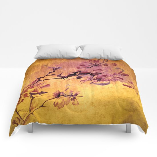 japanese crab apple flowers on golden tones Comforters