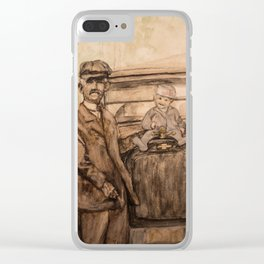 watercolor portrait of grandpa and car Clear iPhone Case