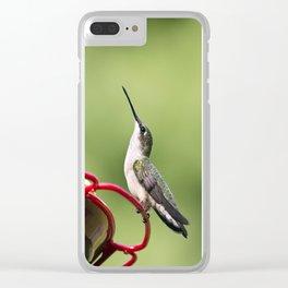 Hummingbird on Feeder Clear iPhone Case