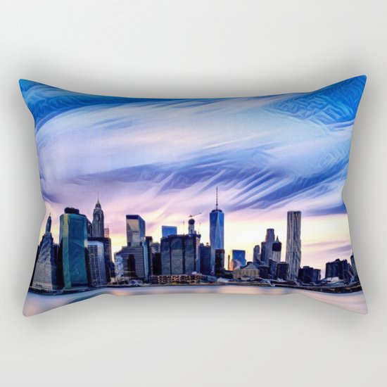 Romantic City Cityscape with Light Sunset and River Rectangular Pillow