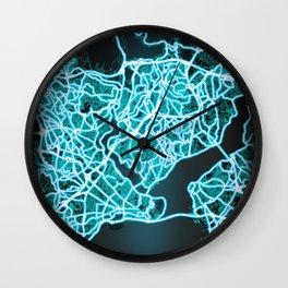 Istanbul, Turkey, Blue, White, Neon, Glow, City, Map Wall Clock