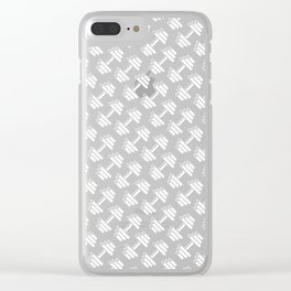 Dumbbellicious inverted / Black and white dumbbell pattern Clear iPhone Case