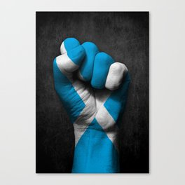 Scottish Flag on a Raised Clenched Fist Canvas Print