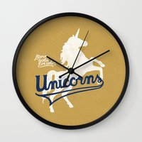 unicorns Wall Clocks featuring Unicorns by WEAREYAWN