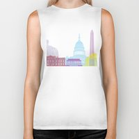 washington dc Biker Tanks featuring Washington DC skyline pop by Paulrommer