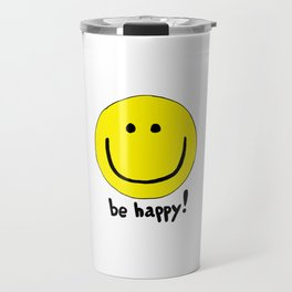 Be Happy Smiley Face Travel Mug