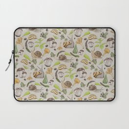 Woodland Snail in Watercolor Fungi Forest, Moss Green and Ochre Earth Animal Pattern Laptop Sleeve