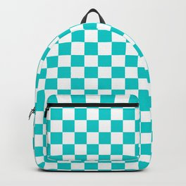 White and Cyan Checkerboard Backpack