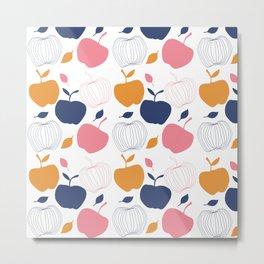 happy Fruit 1 apple color home decor Colorful Metal Print