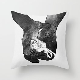 Warm lovers hug. Throw Pillow