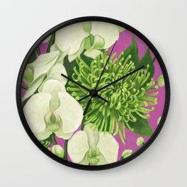Dahlia flower painting. Wall Clock
