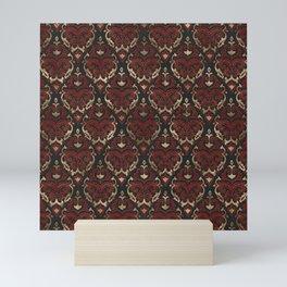Persian Oriental Pattern - Black and Red Leather Mini Art Print