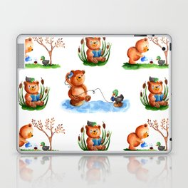 Cute watercolor pattern for kids about Teddy Bear and little Duck's friendship Laptop & iPad Skin
