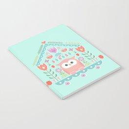 Scandinavian Folk Style Owl Bird House Notebook