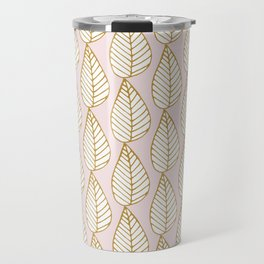 Winter Leaves Pink and Gold Travel Mug