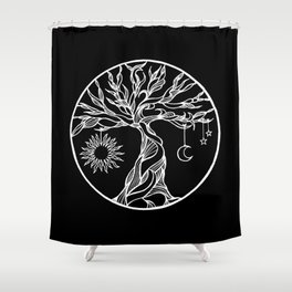 black and white tree of life with hanging sun, moon and stars II Shower Curtain