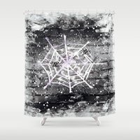 black widow Shower Curtains featuring Black Widow by Marven RELOADED