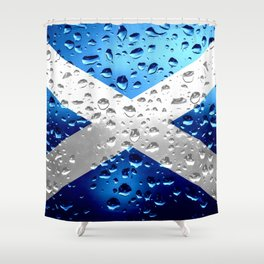 Flag of of Scotland - Raindrops Shower Curtain